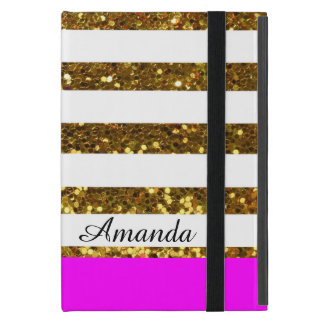 Glam/Hot Pink Gold Sequins Stripes/Personalized Cover For iPad Mini