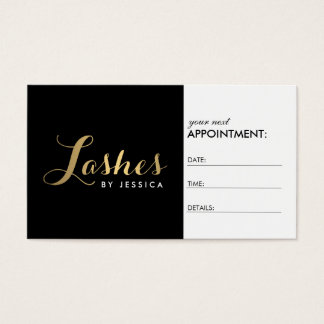 Glam Lashes Script Text Gold/Black Appointment Business Card