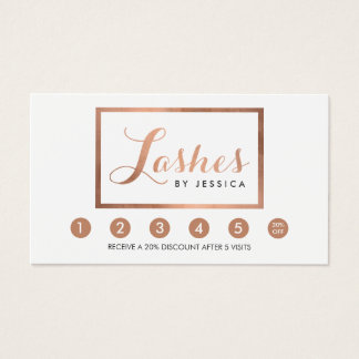Glam Lashes Script Text Rose Gold Framed Loyalty Business Card
