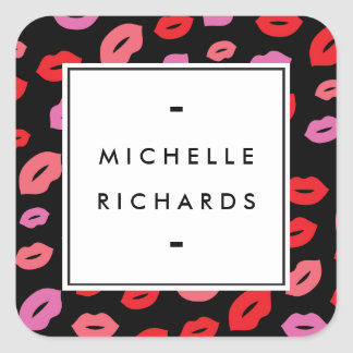 Glam Lip Print Makeup Artist Beauty Pink/Red/Black Square Sticker