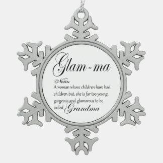 GLAM MA grandma definition Snowflake Pewter Christmas Ornament