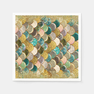 Glam Mermaid Scales Birthday Party Paper Napkin