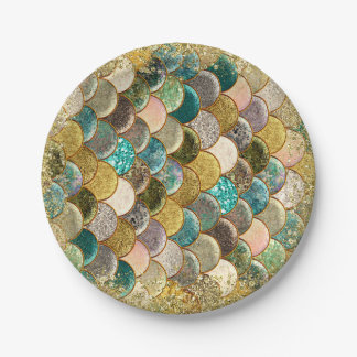 Glam Mermaid Scales Birthday Party Paper Plate