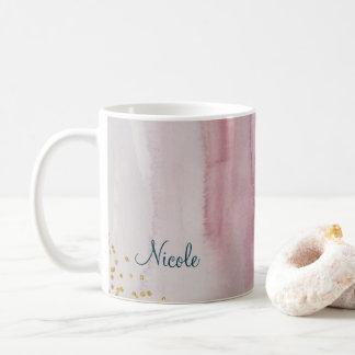 Glam Modern Blush Pink Blue Gold Personalized Coffee Mug