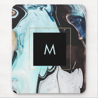 Glam Modern Ink Swirls with Black Square Mouse Pad