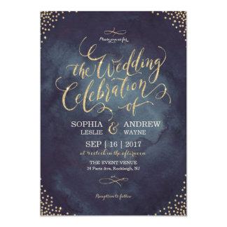 "Glam night faux gold glitter calligraphy wedding 5"" x 7"" invitation card"