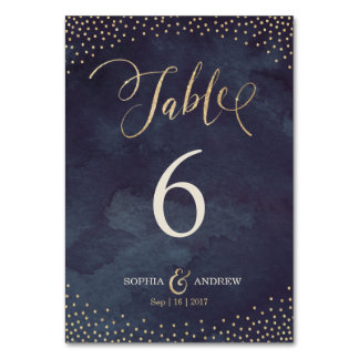Glam night gold calligraphy wedding table number