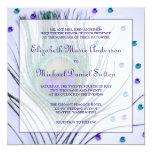 "Glam Peacock Feather Purple Wedding 5.25"" Square Invitation Card"