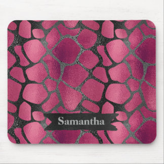 Glam pink black animal print glitter personalized mouse pad
