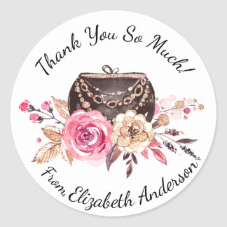Glam Pink Floral Purse Personalized Thank You Classic Round Sticker