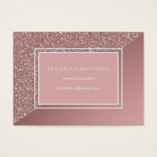 Glam Pink Glitter and Metallic Look Business Card