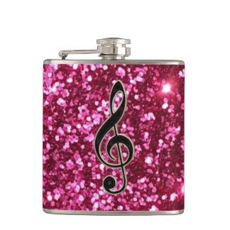 Glam Pink Glitter Music Clef Flask