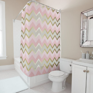 Glam Pink, Gray, and Gold Chevron Stripes