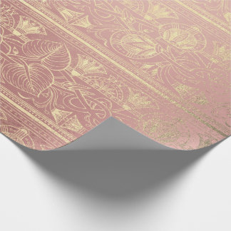 Glam Pink Rose Gold Glass Egyptian Floral Script Wrapping Paper