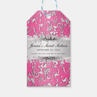 Glam Pink Silver Floral Pattern Sweet Sixteen Pack Of Gift Tags