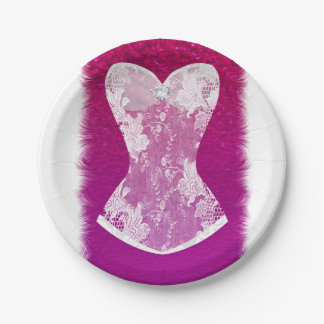 Glam Pink & White Trendy Lingerie Shower Party Paper Plate