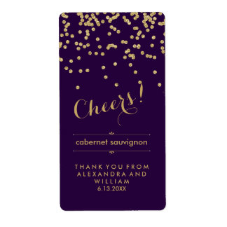 Glam Purple and Gold Wedding Wine Bottle Label Shipping Label