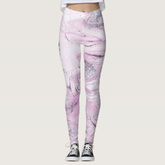 Glam Purple Lilac White Silver Marble Molten Leggings