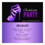 Glam Purple Pumps Black Bachelorette Party Card Custom Invite
