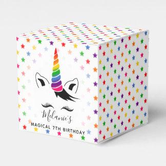 Glam Rainbow Unicorn Birthday Party Favor Box