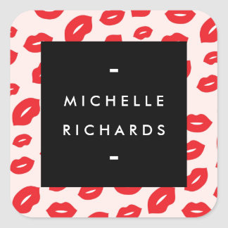 Glam Red and Pink Lip Print Sticker
