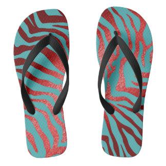 Glam Red Blue Mint Black Zebra Skin Flip Flops