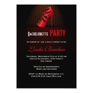 Glam Red High Heel Shoe Bachelorette Invitation