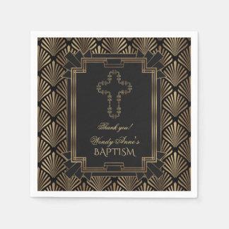 Glam Roaring 20's Great Gatsby Art Deco BAPTISM Paper Napkin