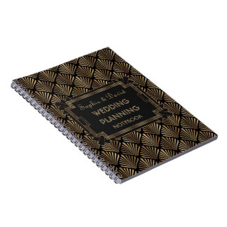 Glam Roaring 20's Great Gatsby Art Wedding Planner Notebook