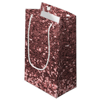 Glam Rose Gold Pink Faux Glitter Print Sparkles Small Gift Bag