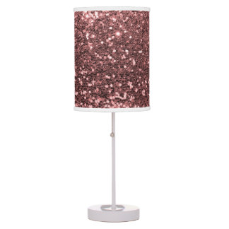 Glam Rose Gold Pink Faux Glitter Print Sparkles Table Lamps
