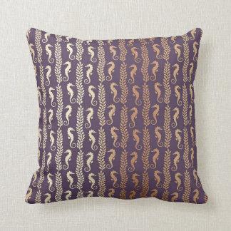 Glam Seahorses Pink Gold Purple Ocean Beach Throw Pillow