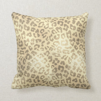 Glam Sepia Gold Animal Lampart Skin Luxury Throw Pillow