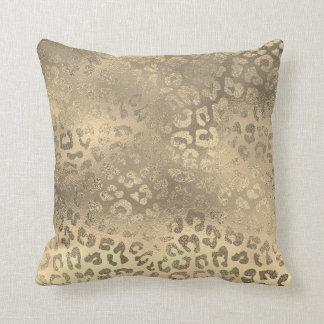 Glam Sepia Gold Animal Lampart Skin Throw Pillow