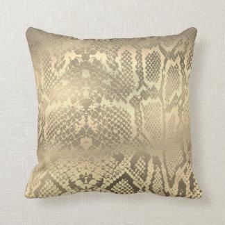 Glam Sepia Gold Animal Python Snake Skin Throw Pillow