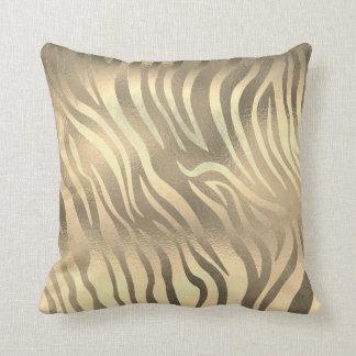 Glam Sepia Gold Animal Zebra Skin Safari Throw Pillow