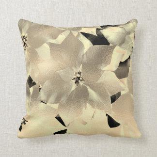 Glam Sepia Gold Black Floral Abstract Metallic Throw Pillow