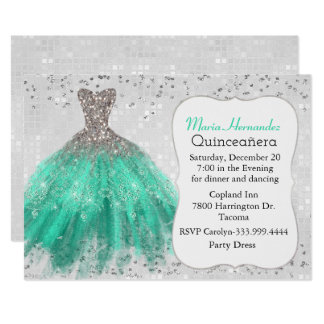 Glam Silver and Teal Gown Quinceañera Invitation