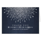 Glam silver glitter deco vintage wedding thank you card