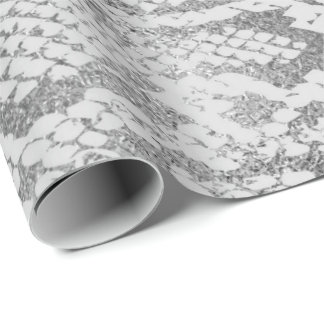 Glam Silver Gray Monochrom Python Snake Skin Vip Wrapping Paper