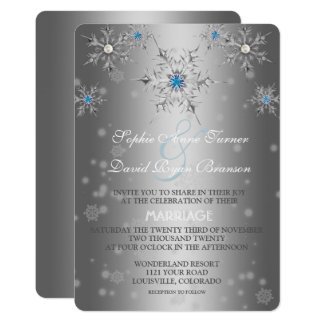 Glam Silver Snowflakes Crystal Blue Pearl Wedding Card