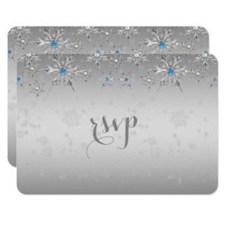 Glam Silver Snowflakes Crystal Pearl Wedding RSVP Card