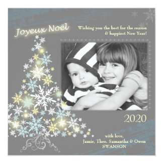 Glam Snowflake Tree Holiday Photo Card