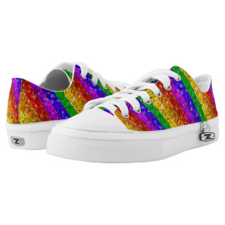 Glam Sparkle Rainbow Glitter Rhinestone Bling LGBT Low-Top Sneakers