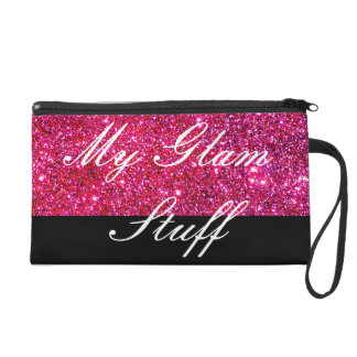 Glam Sparkly Pink Glittery Cosmetics Sparkling Wristlet