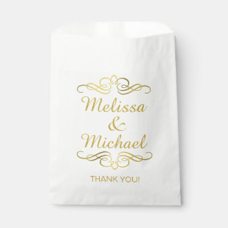Glam Swirly Flourish Gold Foil Thank You Favour Bag