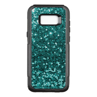 Glam Teal Blue Faux Glitter Print OtterBox Commuter Samsung Galaxy S8+ Case