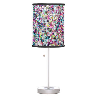 Glam Turquoise and Pink Faux Sequin Sparkles Desk Lamps