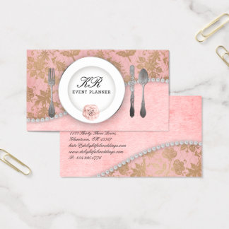 Glam Wedding Event Planner Catering Cutlery Business Card