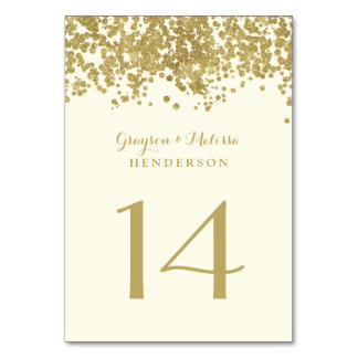 Glam Wedding Table Number | Chic Faux Gold Foil Table Card